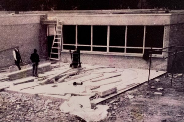 Classroom Number One being built in 1970
